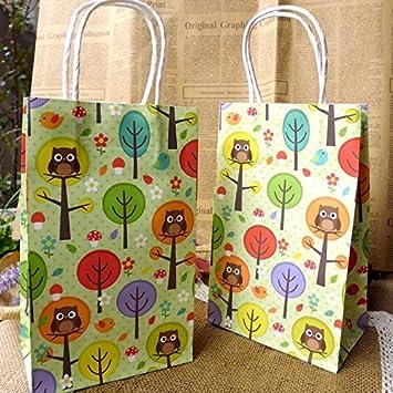 Amazon.com: Bolsa de papel con asas de búhos y árboles de ...