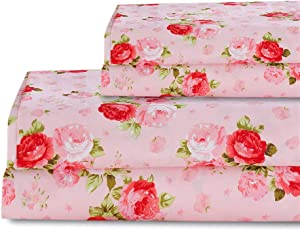 Bedlifes Rose Floral Sheet Set Luxury Ultra Soft Wrinkle-Free Hypoallergenic Pattern Printed Bed Sheets Deep Pocket Flat Sheet& Fitted Sheet& Pillowcases 100% Microfiber 4 Piece King Pink Flowers