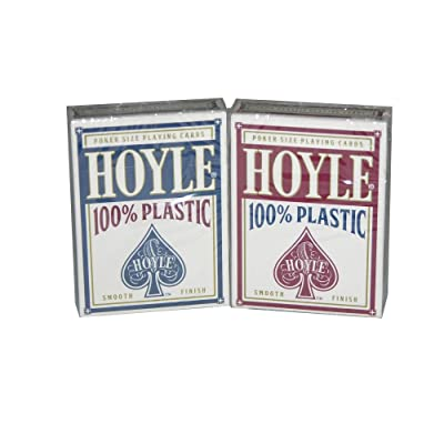 HOYLE RED & BLUE POKER SIZED 100% PLASTIC PLAYING CARDS, 2 DECK SET: Sports & Outdoors