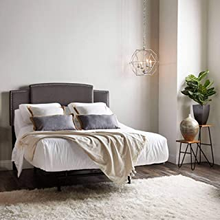 product image for eLuxurySupply Aspen Universal Sized Headboard - Upholstered Headboard with Contemporary Nailhead Trim Design - Fully Adjustable Width and Height - Easy Installation - Grey Color