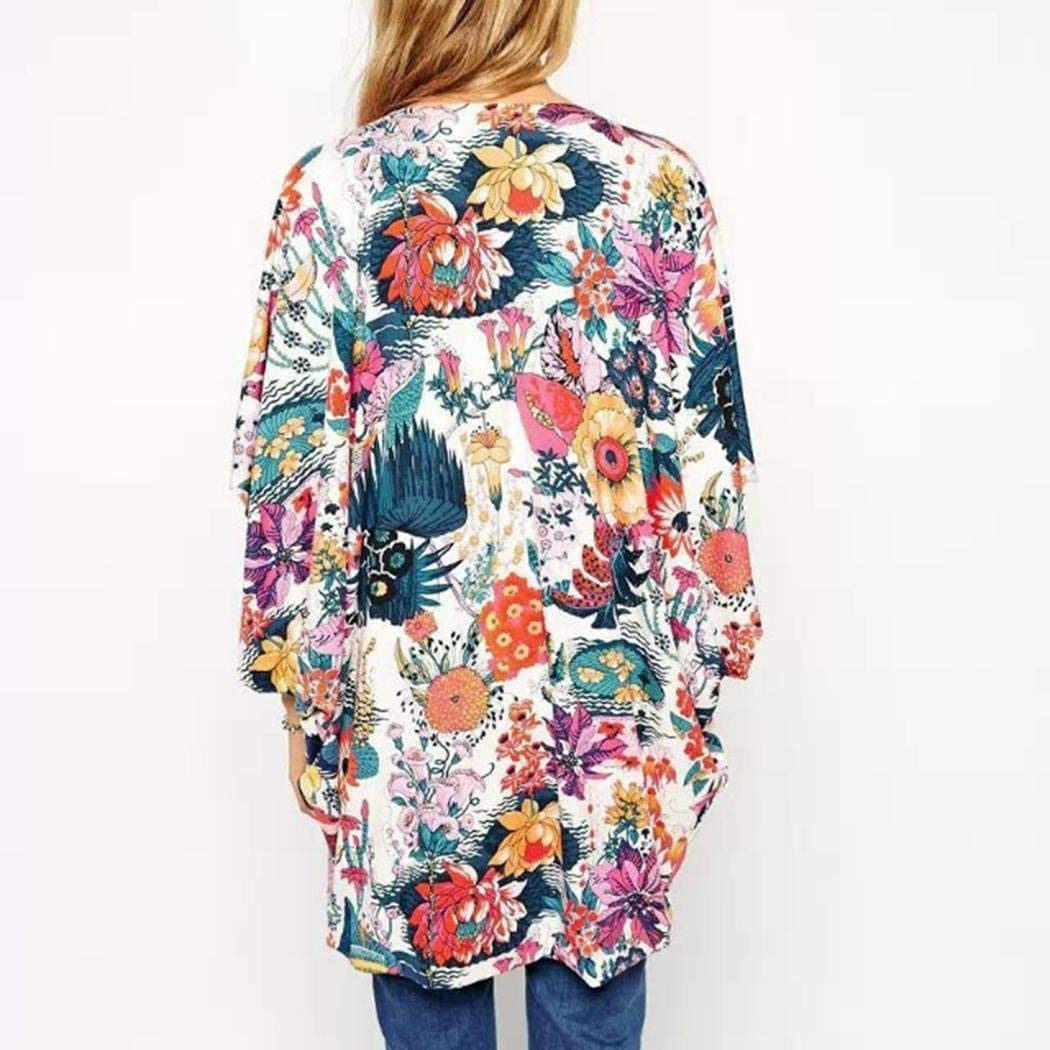 MAMOIU Women Fashion Casual Floral Printed Bat Sleeve Loose Chiffon Cardigan Cover-Ups