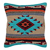El Paso Designs Aztec Throw Pillow Covers, 18 X 18, Hand Woven in Southwest and Native American Styles. (Teal Maroon Diamond)