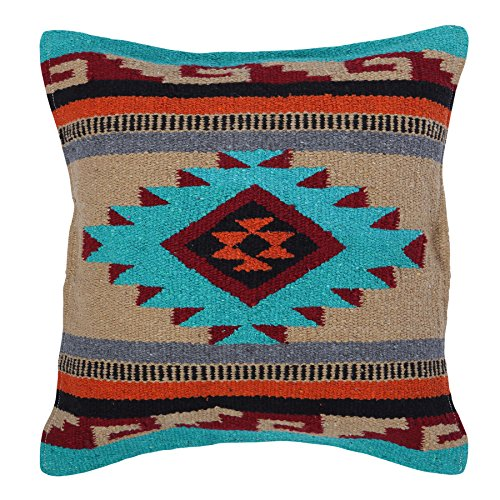 (El Paso Designs Aztec Throw Pillow Covers, 18 X 18, Hand Woven in Southwest and Native American Styles. (Teal Maroon Diamond))