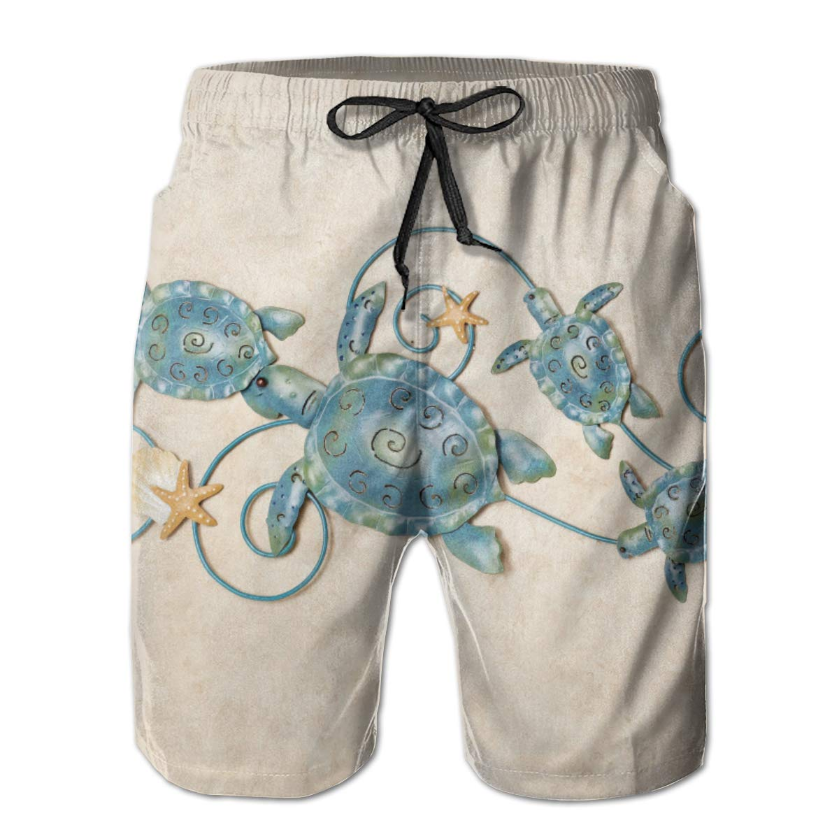 WWT Ocean Friends Sea Turtle Mens Printed Beach Shorts with Mesh Lining//Side Pockets