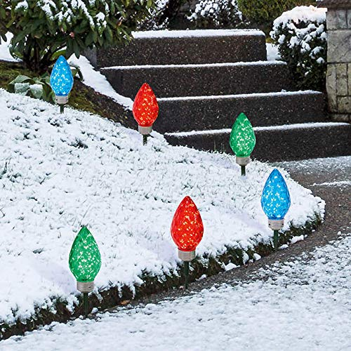 Set of 6 Lighted LED Jumbo C9 Bulb Christmas Faceted Pathway Marker Lawn Stakes - Multi-Color -1900377