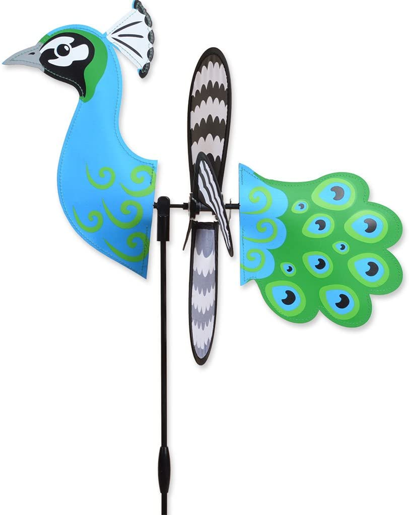 "Premier Kites PEACOCK Petite Garden Stake Wind Spinner by Designs-15"" w"
