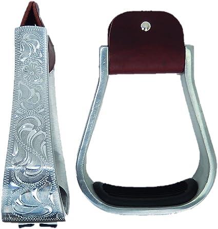 2 Western Engraved Aluminum BarrelRoperShow Saddle Stirrups 5 Inside Foot