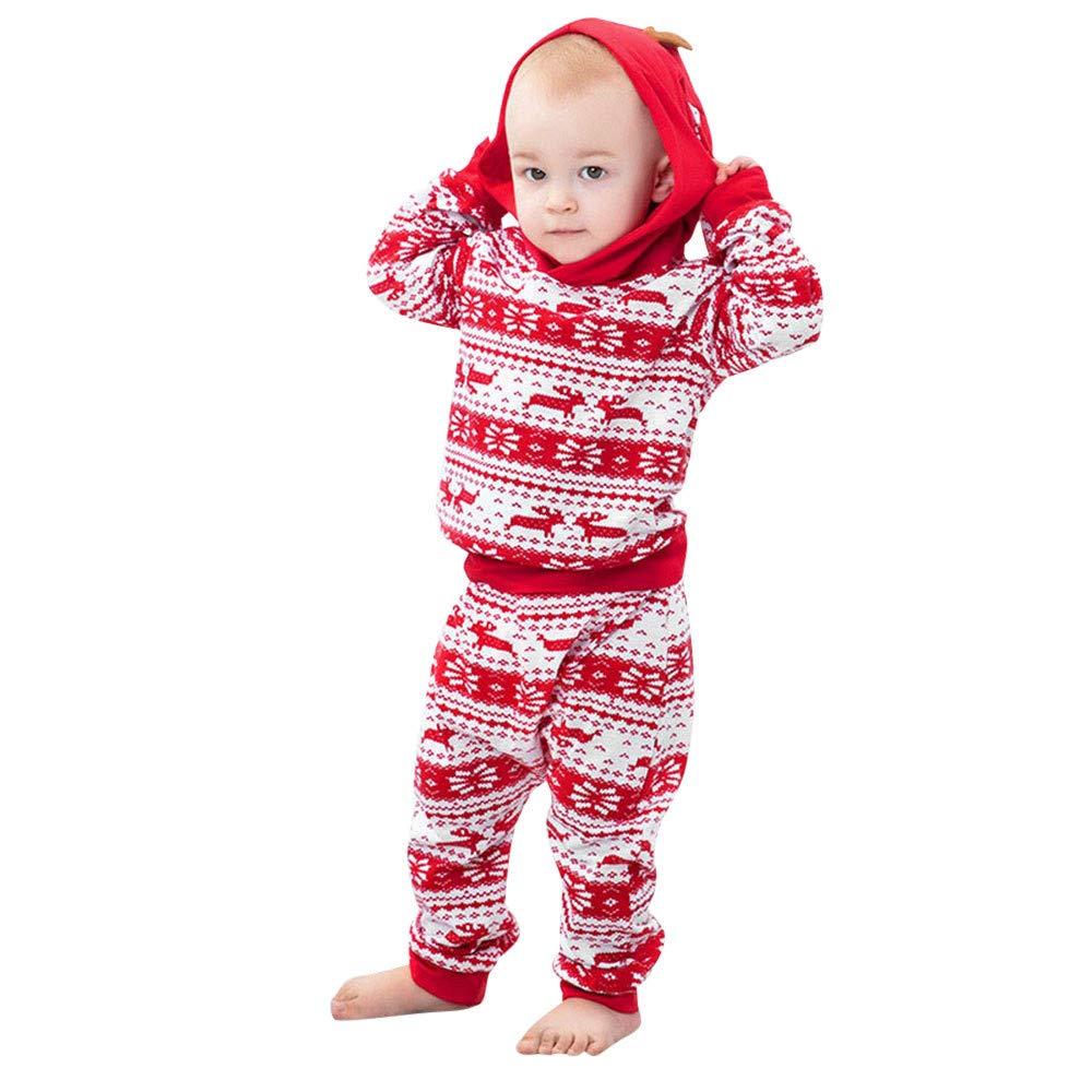 MRULIC Baby 2Passt Baby Playsuit Zweiteiliger Schlafanzug Mädchen Jungen Langarm Hohe Taille Pyjam 3Monate-2 Jahre Höhe Weihnachten SchlafanzugOutfit Top Hose Set MRULIC Oct