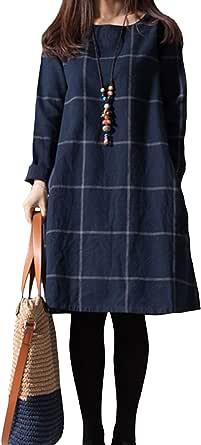 Vestido De Mujer Primavera Otoño Casual Cáñamo Tallas Grandes Vestidos De Manga Larga
