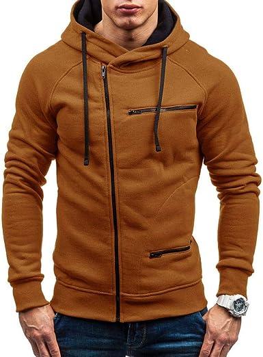 Kobay Hommes Automne Hiver Capuche Solide Manteau en /à Manches Longues Outwear