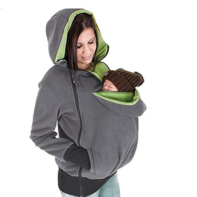 Sudadera Canguro Con Capucha Mujer Bolsillos Abrigo Otoño Invierno 3 en 1 Transporte Chaqueta Outwear: Amazon.es: Ropa y accesorios