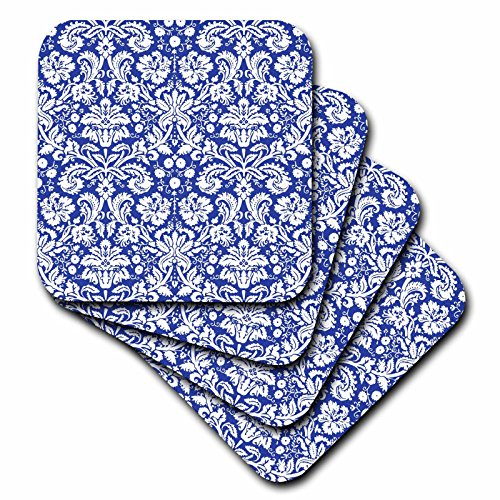 3dRose cst_151455_4 Royal Blue and White Damask Pattern-Elegant Victorian Vintage French Floral Swirls-Navy-Ceramic Tile Coasters, Set of 8