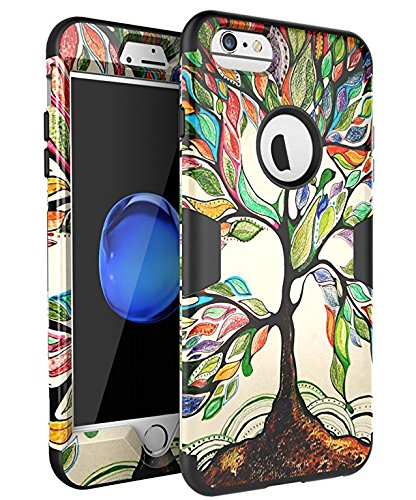 SKYLMW iPhone 6 Plus Case,iPhone 6S Plus Case, [Shock Resistant Series ] Hybrid Rubber Case Cover for iPhone 6 Plus,iPhone 6S Plus 3in1 Hard Plastic +Soft Silicone Tree Black
