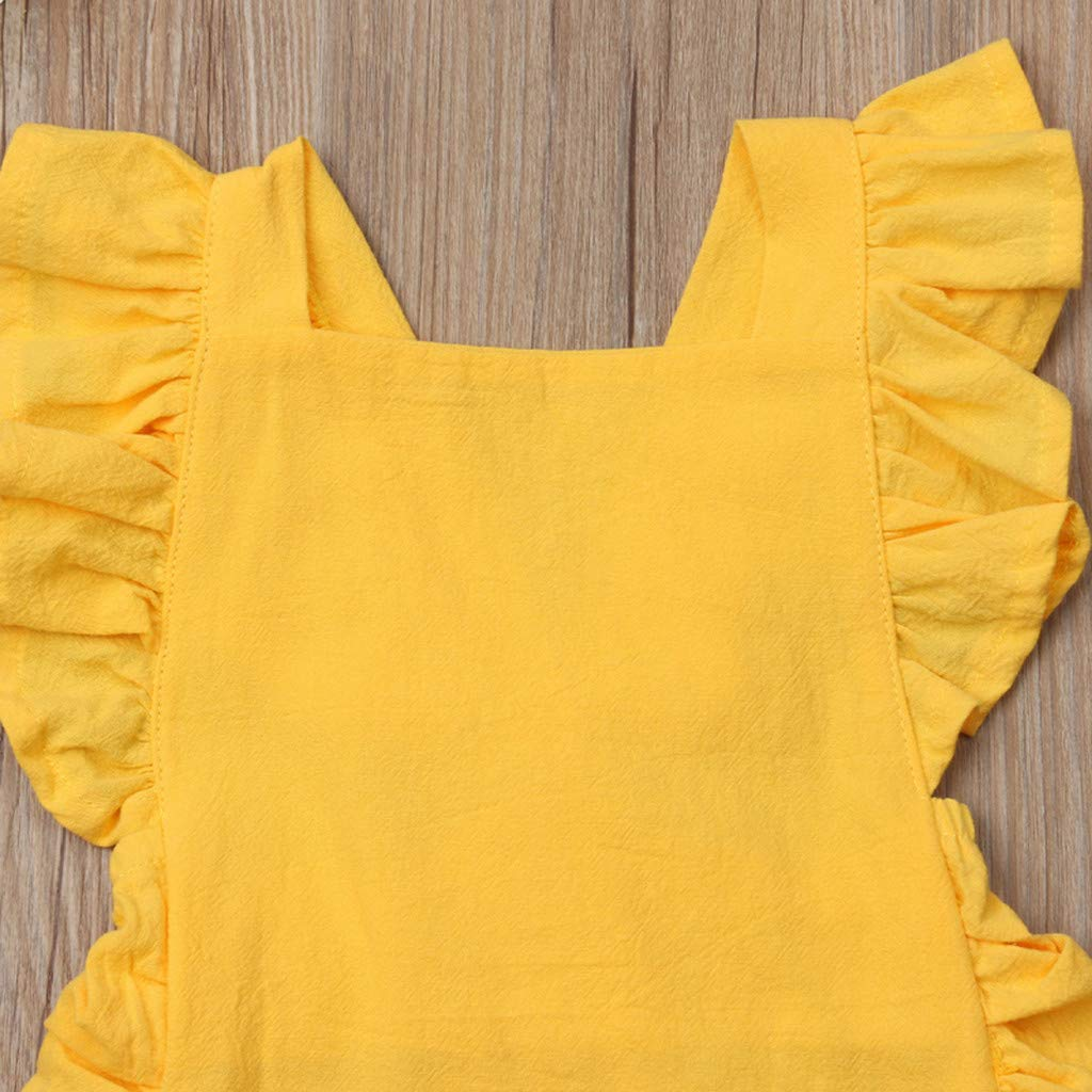 NUWFOR Summer Newborn Baby Boys Girls Ruffle Solid Romper Bodysuit Jumpsuit Clothes(Yellow,12-18Months) by NUWFOR (Image #4)