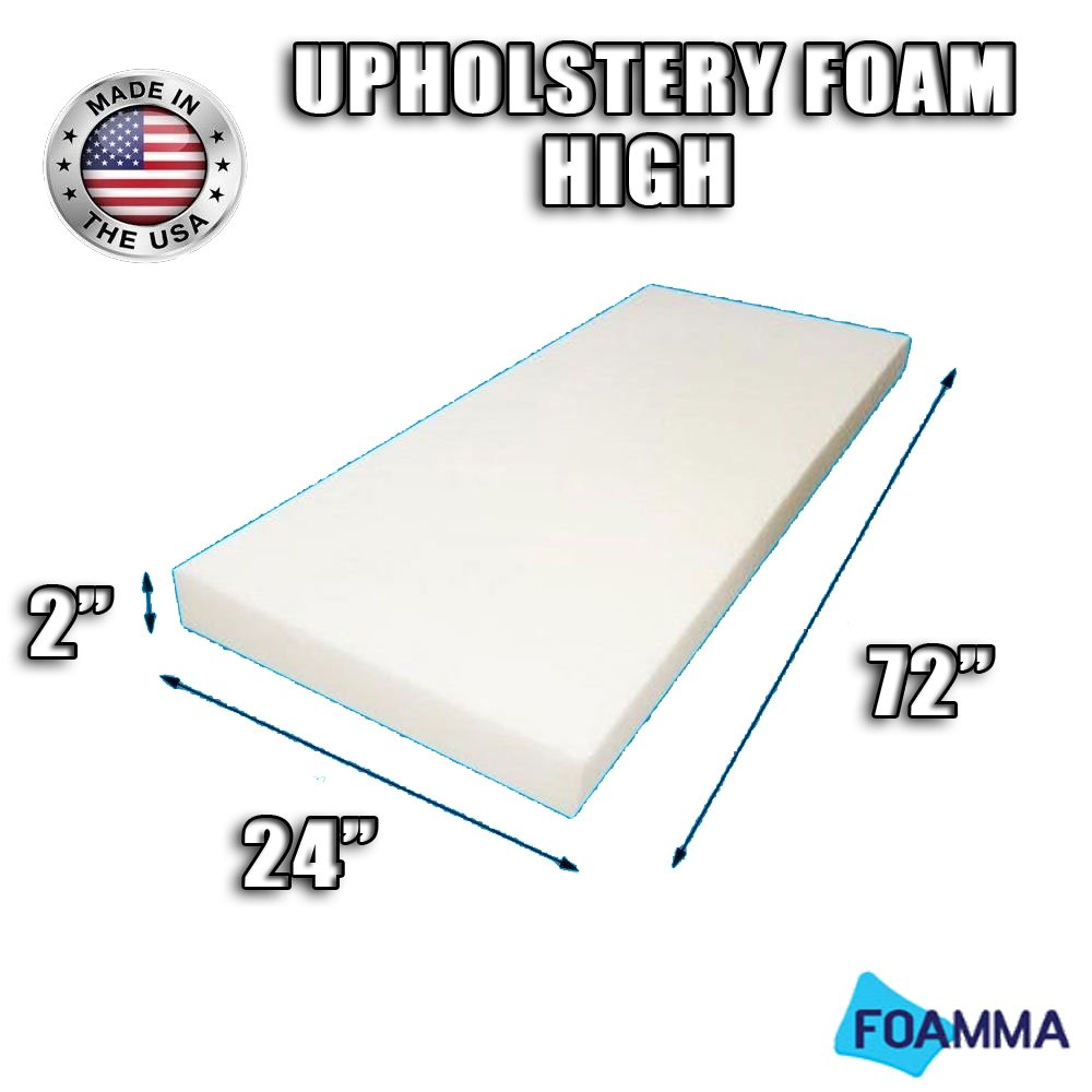 Fast 5 x 24 x 72 FOAMMA High Density Upholstery Foam Cushion Seat Replacement , Upholstery Sheet , Foam Padding Made in USA!!