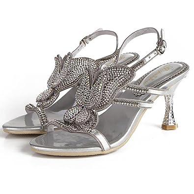 SYYAN Damen Leder Strasssteine Pure Handmade Flip Flops Sandalen, Silver, 44