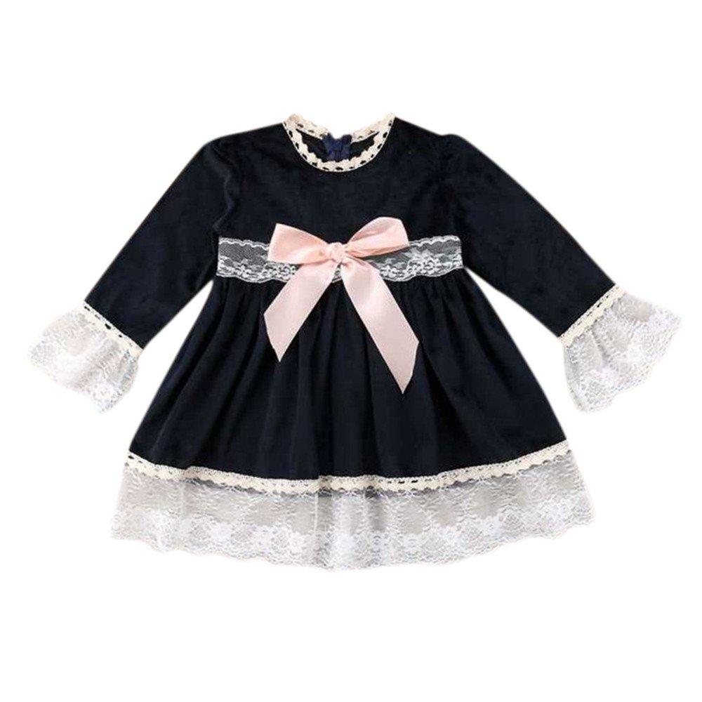 Vestidos Bebé, Modaworld Niño pequeño bebé niñas Bowknot Encaje Empalme Princesa Vestidos Ropa Vestidos de Fiesta de Manga Larga Ropa Bebé niña