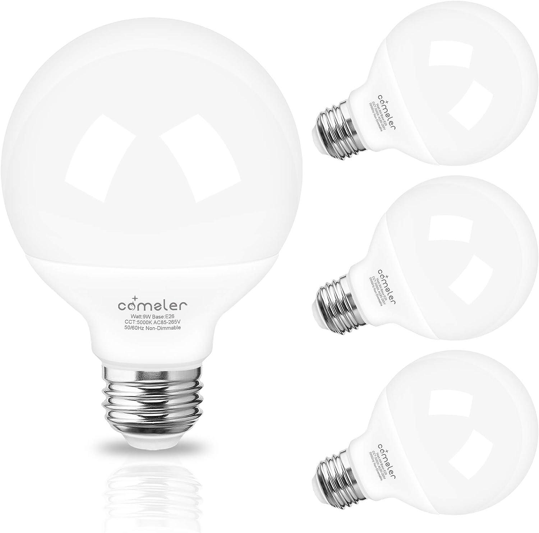 G25 Globe Led Bulbs Vanity Light Bulb 60 Watt Equivalent Comzler Bathroom Light Bulbs 5000k Daylight 900lm Makeup Mirror Light For Bedroom E26 Medium Screw Base 9w Non Dimmable Pack Of 4