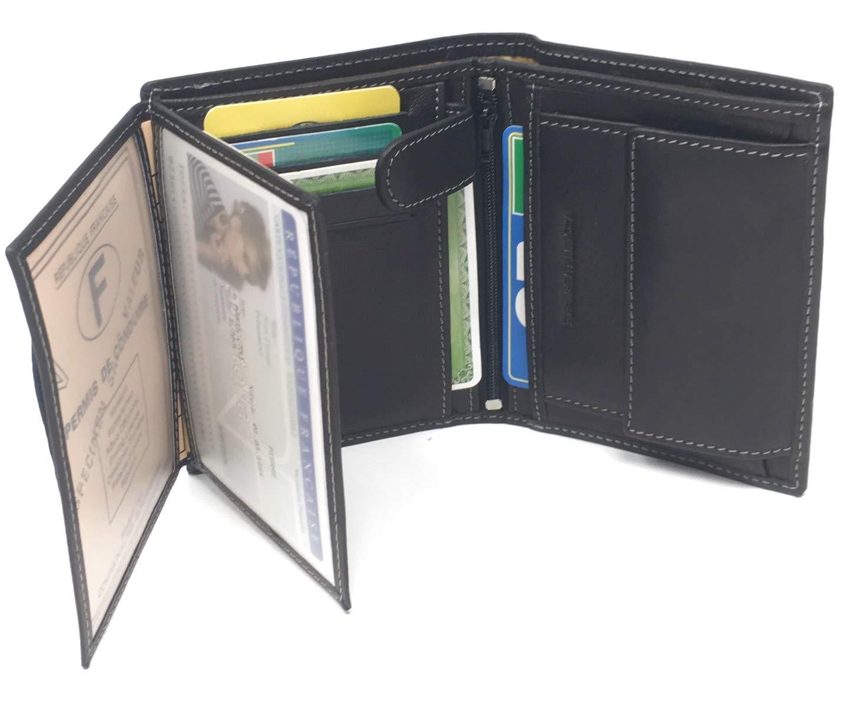 Noir Nd2 Mamjack/® Portefeuille Homme en V/éritable Cuir de Qualit/é Sup/érieur avec Blocage Anti RFID