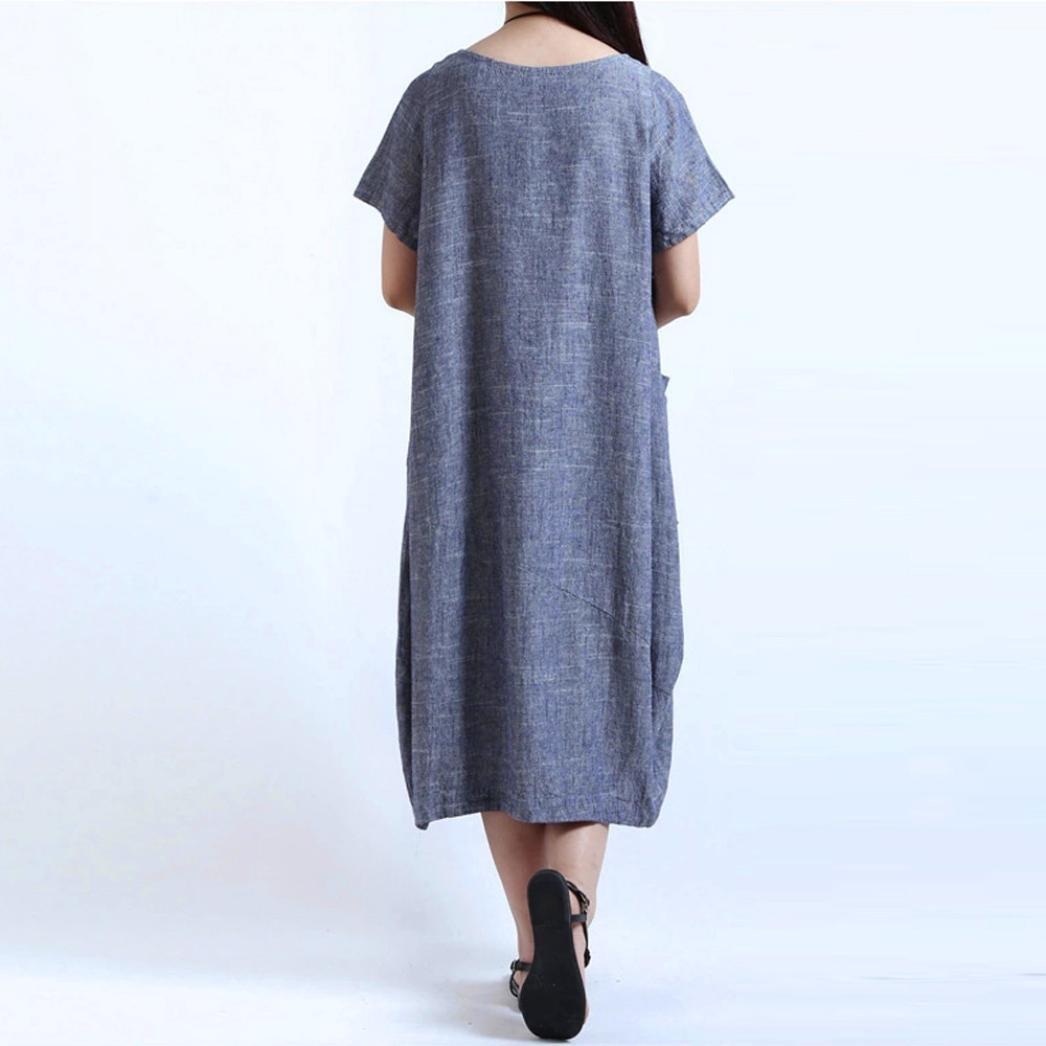Women Casual Mini Dress Boho Printed Short Sleeve Baggy Dress V Neck Knee-Length Pockets Baggy Dress