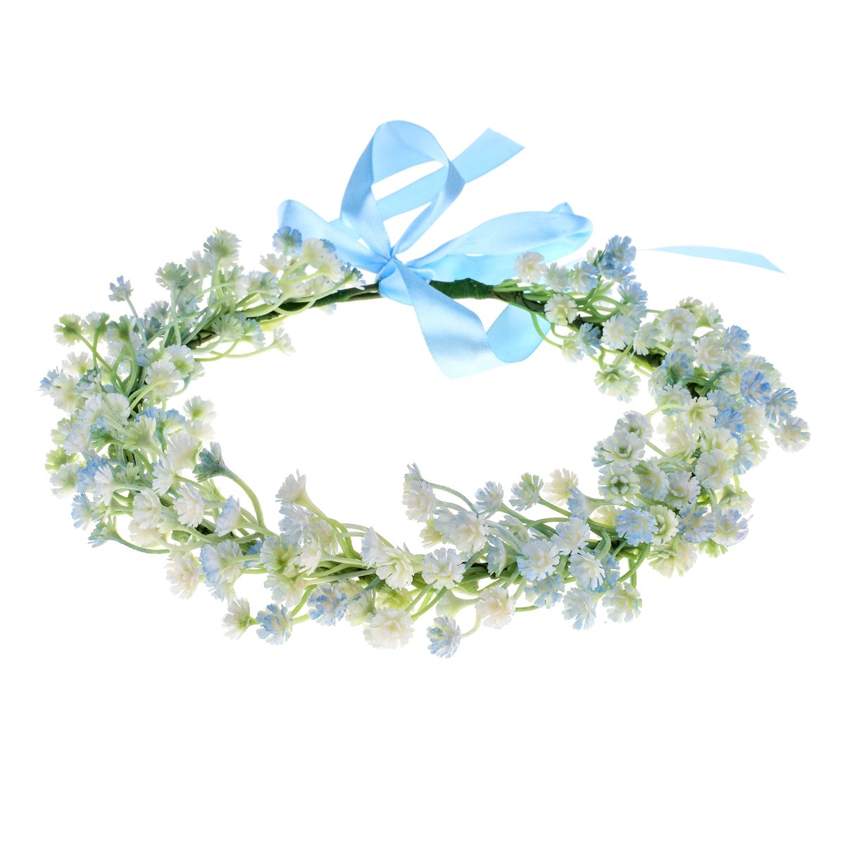 Love Sweety Babysbreath Headband Floral Garland Crown with Ribbon Photograph (Blue)