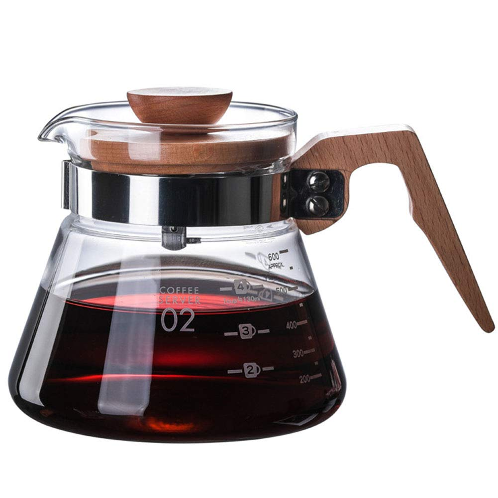 SYY-US Life Hand Coffee Pot High Temperature Resistant High Borosilicate Glass Coffee Pot Teapot with Wooden Handle Lid Glass Pot,B