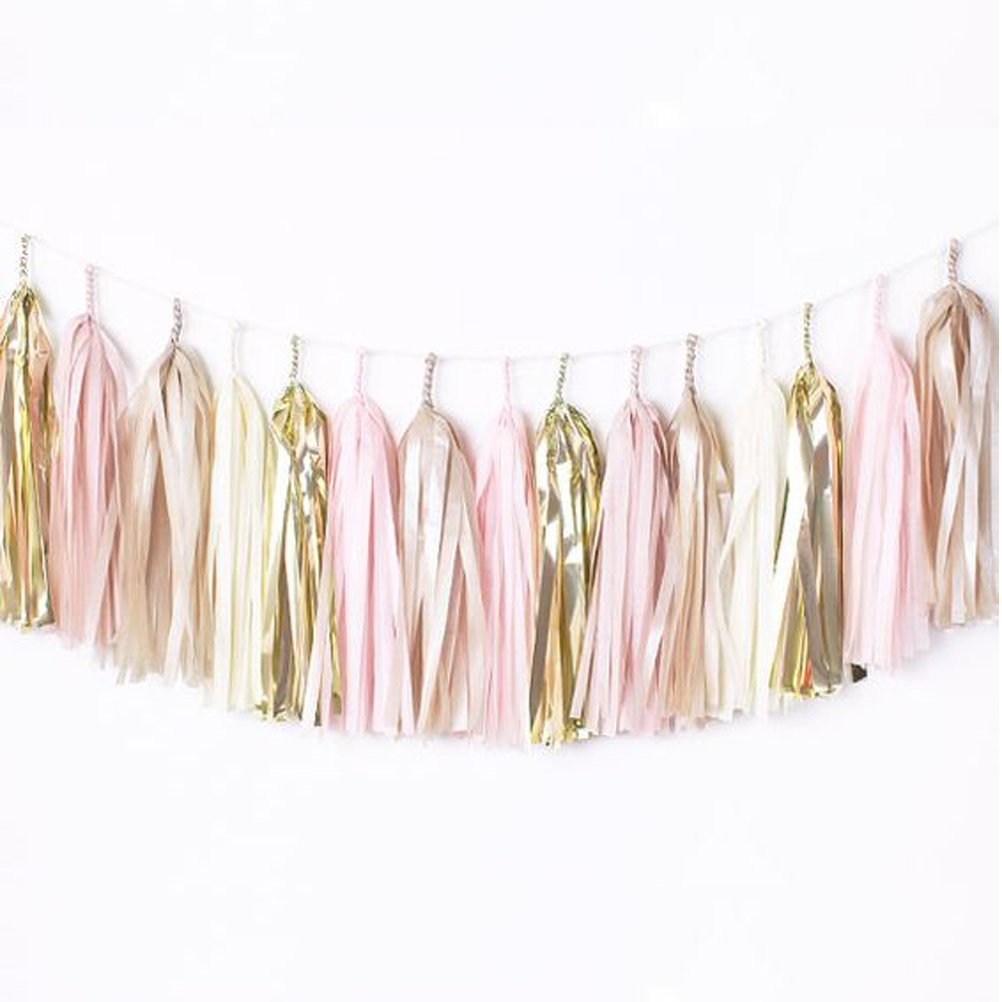 Sunniemart Paper Tassel Garland with String DIY Hanging Decor 1.2ft Long 25pc (metallic gold, pink, white, champagne tan, ivory)