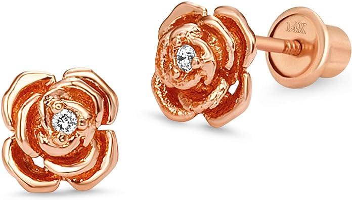 Silver Pink /& Yellow Enamel Flower Girls Earrings Children Jewelry