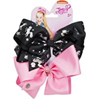"""Official JoJo Siwa""""Black Unicorn & Pink"""" 2 Pack Hair Clip Bow Set with Charms"""