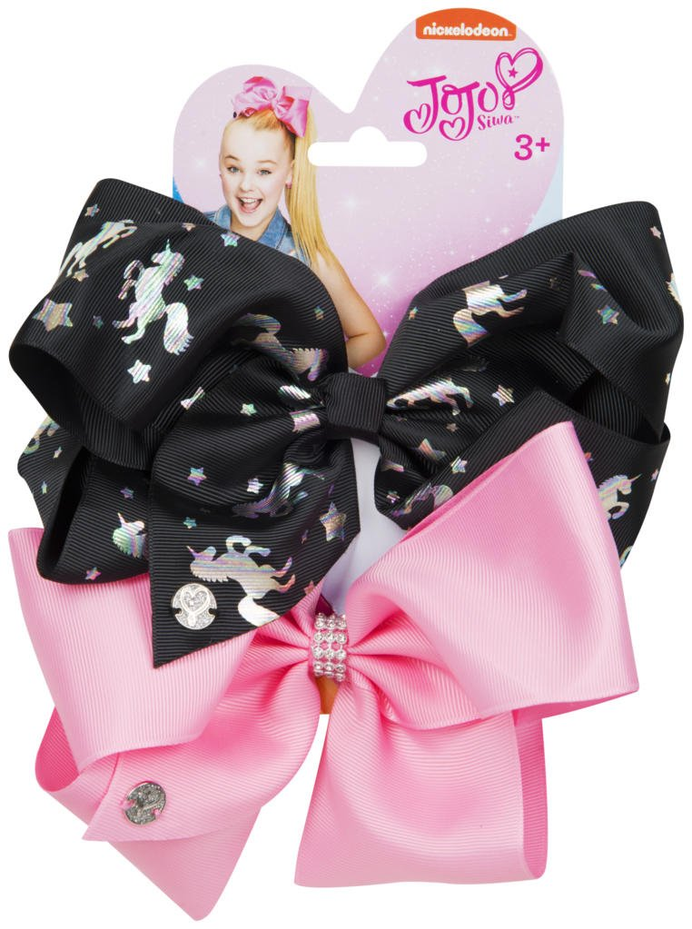 Official JoJo SiwaBlack Unicorn & Pink 2 Pack Hair Clip Bow Set with Charms worldofhoisery JJS-062