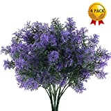 Nahuaa 4Pcs Artificial Plastic Plant Fake Greenery Shrubs Faux Bushes Bundles Indoor Outdoor Home Kitchen Office Windowsill Table Centerpieces Arrangements Spring Decorations Spray in Purple