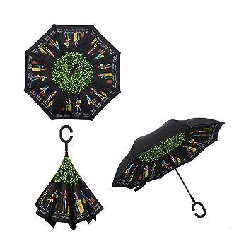 Paraguas invertido, resistente al viento doble capa del revés paraguas invertido y Self Standing,