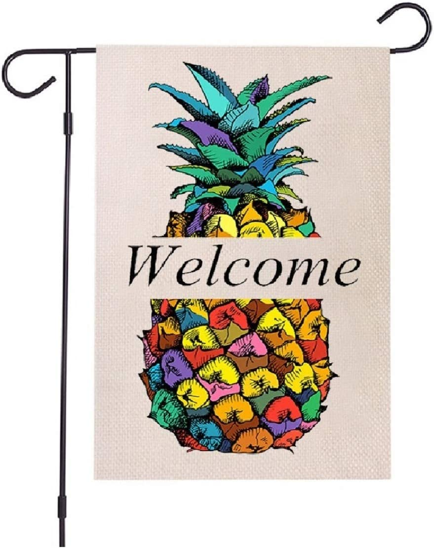 Colorful Pineapple Welcome Garden Flags,Small Funny Garden Flags 12.5 x 18 Inch Vertical Double Sided Small Pineapple Welcome Garden Flag for Farmhouse Yard Lawn Outdoor Indoor Decoration (12.5X18)