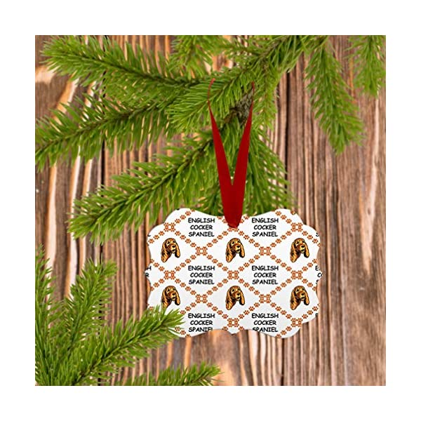 Style In Print Custom Holiday Christmas Ornament English Cocker Spaniel Dog Paws Aluminum Round Shape Design Only 5