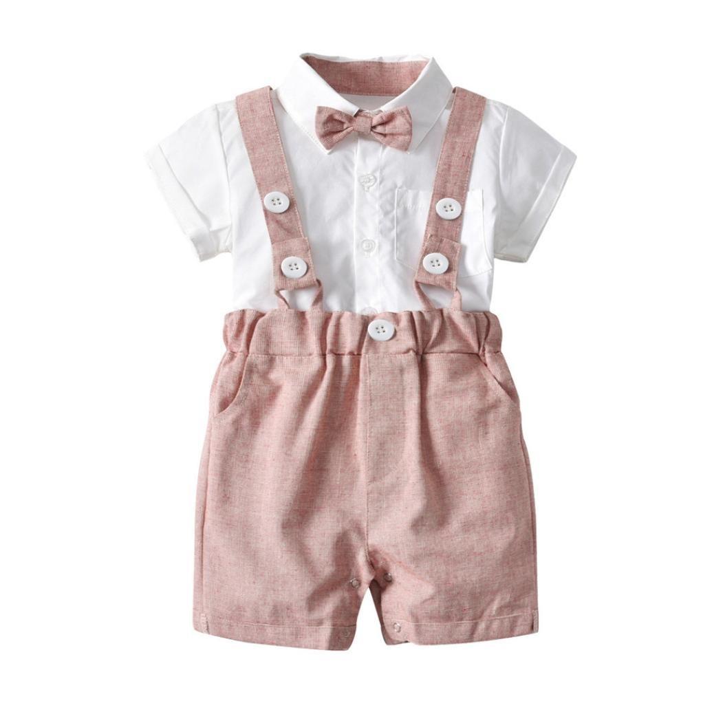 BeautyTop Baby Kleidung Set Latz Fliege DREI Herrenanzug Anzug Kleiner Anzug 3pcs//Set Neugeborenen Baby Kurz/ärmeliges Baby-Shirt mit kurzen /Ärmeln