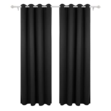 Deconovo Black Thermal Insulated Blackout Curtains 52 By 63 Inch1 Panel