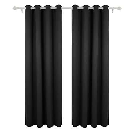 Deconovo Super Soft Thermal Insulated Window Treatment Ring Top Blackout Curtains For Livingroom With Two Matching