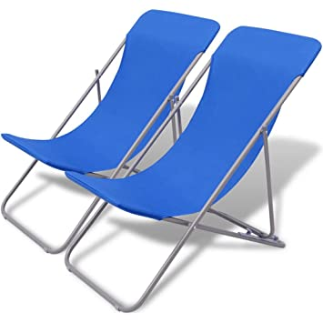 WEILANDEAL Silla de Playa Plegable 2 uds. Azul Fundas para ...