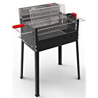 Vertigo Basic Vertikalgrill Ferraboli XXL schwarz Senkrecht Garten Balkon Camping Picknick ✔ eckig ✔ tragbar ✔ stehend grillen ✔ Grillen mit Holzkohle