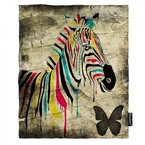 (Moslion Zebra Blanket Vintage Rainbow Color Striped Zebra Butterfly on Retro Wall Throw Blanket Flannel Home Decorative Soft Cozy Blankets 40x50 Inch for Baby Kids Pet Brown)