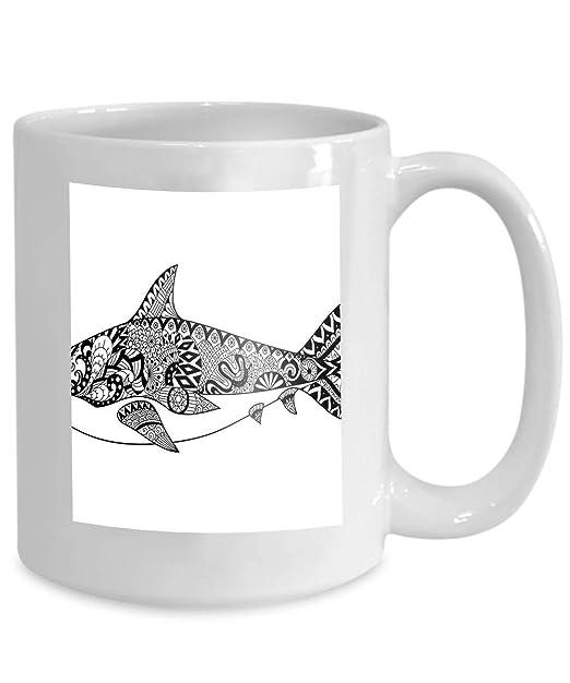 Café Taza de té Taza línea de tiburón diseño de arte libro para ...