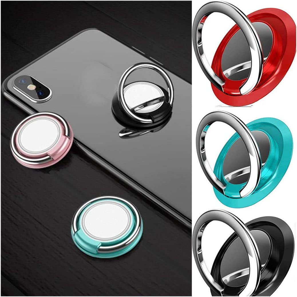 SUGEER Phone Ring Holder Finger Kickstand 360/° Rotation Metal Ring Grip for Magnetic Car Mount Compatible with All Smartphone-Gun Phone Ring Kickstand Finger Ring Stand