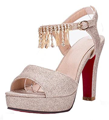 cd123a1288 Easemax Women's Sexy Rhinestone Fringes Buckle Ankle Strap Bridal Shoes  Platform Chunky High Heel Sandals Gold