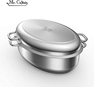 Mr Captain Roasting Pan with Rack And Lid 8.5 Quart,18/10 Stainless Steel Multi-Use Oval Roaster,Induction Compatible Dishwasher Safe Oven Safe Turkey Roaster 15 Inch