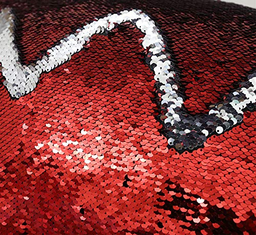 Zdada 1yard Red and Silver Mermaid Sequin Fabric by The Yard Two Colors Flip Up Reversible Sequin Fabric for Clothing Wedding/Evening Dress DIY