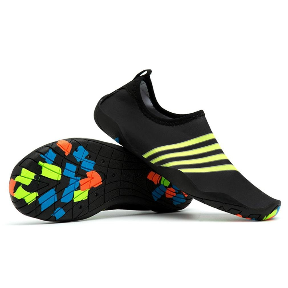 Women Men Water Shoes, Quick-Dry Lightweight Barefoot Aqua Shoes Snorkeling Socks For Beach Swim Surf Yoga Exercise (Black, 7 US (38))