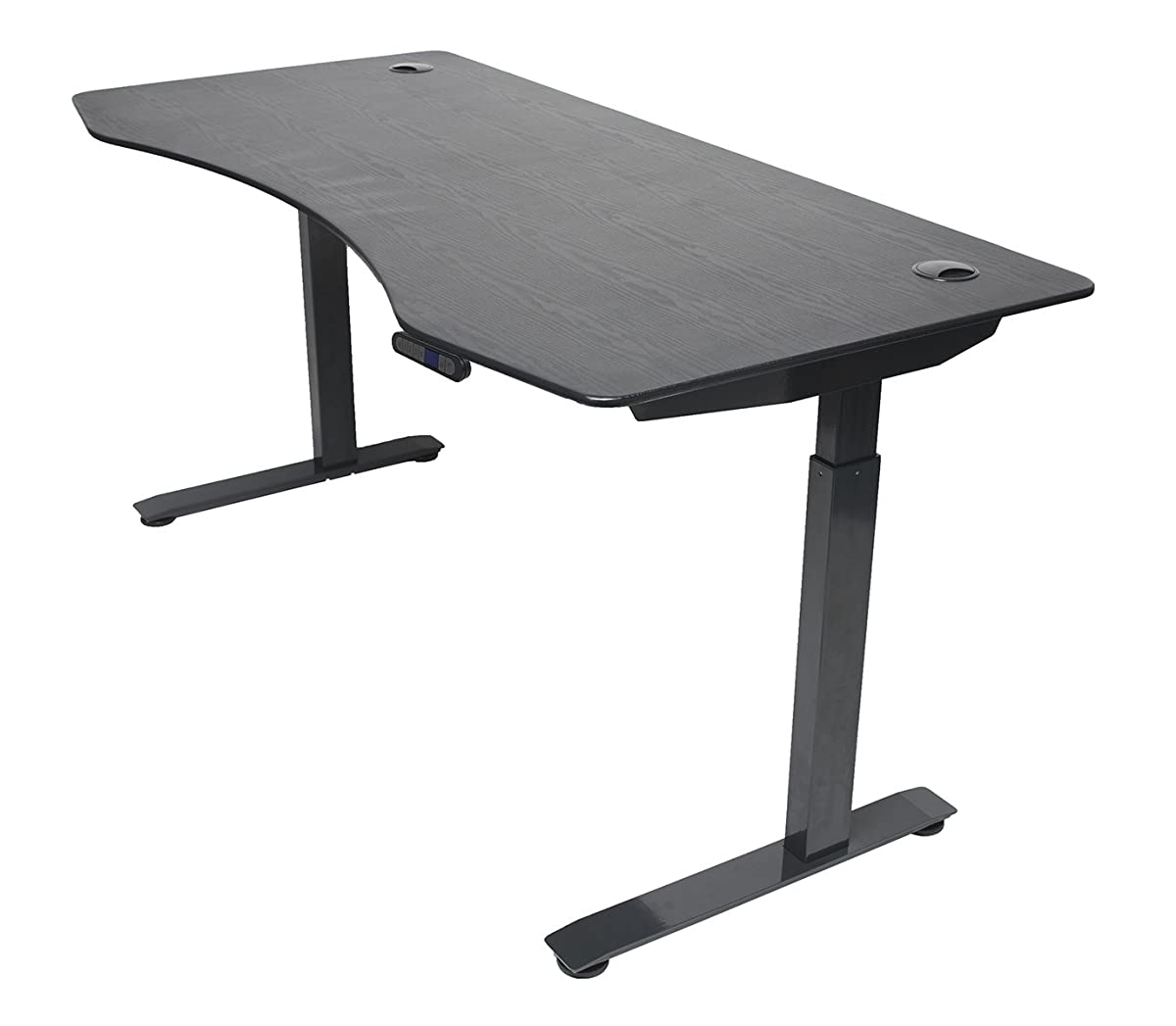 "ApexDesk Elite Series 60"" W Electric Height Adjustable Standing Desk (Memory Controller, 60"" Top in Black, Black Frame)"