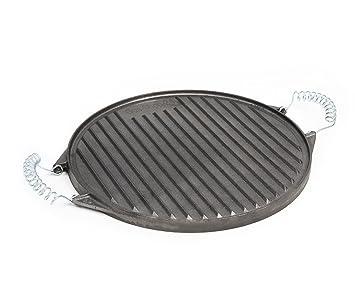 32 cm redondas plancha de hierro fundido con extraíbles Muelle Acero asas (Adecuado para gas