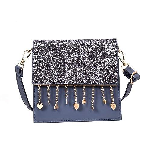 Embrague Elegante Bordado con Lentejuelas de Moda Banquete Solo Hombro Crossbody Sobre Bolsa (Azul)
