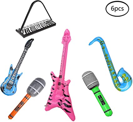 16 Pieces Large Inflatable Blow Up Guitars Microphone Musical Rock Prop Durable